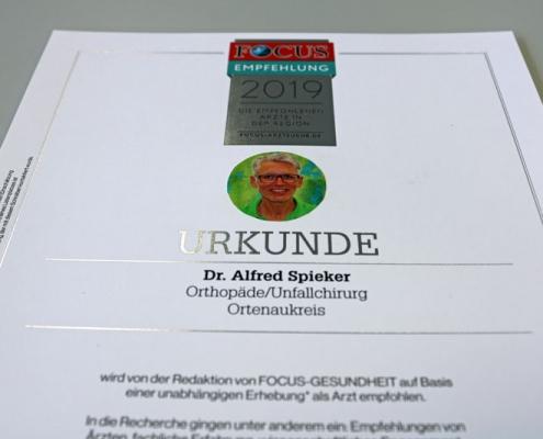 Bild Focus Arztsuche Siegel Dr. Alfred Spieker Achern Orthopädie 2019