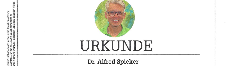 Fokus Siegel Prämierung Dr. Alfred Spieker 2020