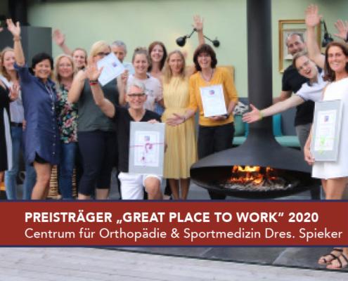 Great Place to Work Preisträger 2020 Centum für Orthopädie und Sportmedizin Dres. Spieker Beste Arbeitgeber Deustchlands