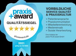 Praxis+ Award Qualitätssiegel 2021 Praxis Dr. Alfred Spieker Achern Vitalhaus